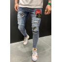 Men's Popular Fashion Letter Badge Embroidered Patch Skinny Ripped Jeans