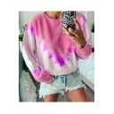 Womens Hot Stylish Long Sleeve Round Neck Tie Dye Leisure Pullover Sweatshirt