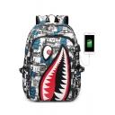 Hot Fashion Cartoon Shark Printed Waterproof Creative USB Charging Canvas School Bag Backpack 32*13*43cm