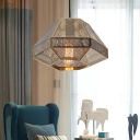 Contemporary Mesh Cage Hanging Lamp Stainless 1 Light Suspended Light in Gold for Coffee Shop