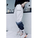 Unisex Street Style Fashion Ombre Color Letter Printed Hip Pop Loose Track Pants
