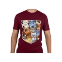 Mens Red Cat Printed Short Sleeve Round Neck Straight Leisure T Shirt