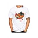 Trendy White Short Sleeve Round Neck Funny Godzilla Ramen Printed Basic T Shirt