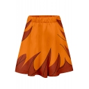 Summer Hot Sale Orange Elastic Waist Fire Printed Mini A-Line Skater Skirt