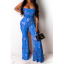 New Trendy Strapless Sleeveless Chain Printed Flare Leg Shirred Bandeau Jumpsuits
