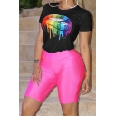Hot Popular Short Sleeve Rainbow Color Lip T-Shirt with Plain Bodycon Shorts Two Piece Set