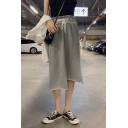 Womens Fashion Plain Drawstring Waist Pocket Front Asymmetric Hem Casual Loose Midi Skirt