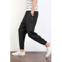 New Fashion Simple Plain Loose Fit Men's Casual Linen Tapered Pants