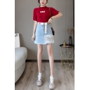 High Waist Raw Hem Washed Belt Waist Sequin Embellished Letter Printed Patch Mini A-Line Denim Skirt