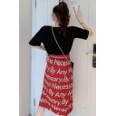 Girls Summer Fashion Red Check Letter Printed Split Side Midi A-Line Skirt