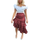 Womens Chic Fancy Beading Embellished Midi Asymmetrical Bodycon Ruffled Skirt