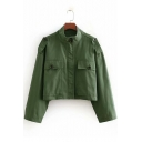 Womens New Stylish Army Green Simple Plain Stand Collar Long Sleeve Cropped Military Jacket