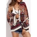 Trendy Ethnic Tribal Printed Womens Holiday Beach Tassel Hem Kimono Blouse