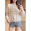 Sweet Girls New Trendy Feather Tassel Embellished Long Sleeve Beige Zip Up Jacket