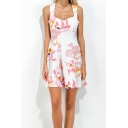 Summer Womens Chic White Floral Printed Sleeveless Mini Strap Dress