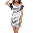Classic Fashion Polka Dot Printed Round Neck Ruffled Sleeve White Mini Sheath Dress
