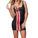 N7 Letter Printed Fashion Two-Tone Colorblock Scoop Neck Sleeveless Mini Black Bodycon Tank Dress