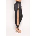Womens Cool Unique Sexy Split Lace-Up Side Elastic Waist Black Track Pants