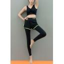 Womens New Trendy Fake Two-Piece Sport Running Slim Yoga Leggings Pants