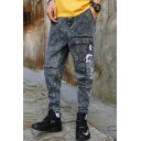 New Stylish Camouflage Patched Trendy Snow Washed Grey Vintage Tapered Jeans