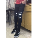 Men's New Fashion Night Reflection Designed Black Slim Fit Ripped Jeans