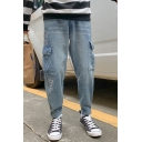 Men's New Fashion Letter PP DJ Embroidered Light Blue Gathered Cuffs Tapered Jeans with Side Pockets