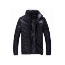 Mens New Stylish Simple Plain Stand Collar Long Sleeve Zip Up Padded Jacket