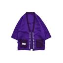New Street Style Half Sleeves Letter LOCK N LOAD Print Hip Hop Cardigan Kimono Blouse for Men