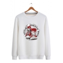 Trendy Letter Shoes Printed Long Sleeve Loose Fit Casual Sweatshirt