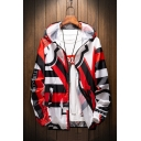 Men's Cool Printed Long Sleeve Hooded Zip Placket Unisex Sun Protection Casual Coat