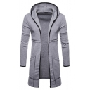 Men's New Trendy Long Sleeve Open Front Plain Longline Slim Fit Overcoat