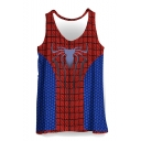 Summer Fashionable Sleeveless Round Neck Spider Colorblock Printed Loose Blue And Red Tank Top