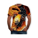 Summer Cool Skull Fire Print Short Sleeve Round Neck Relaxed T-Shirt For Men