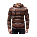 Men's New Fashion Contrast Rainbow Stripes Pattern Long Sleeve Slim Fit Casual Hoodie