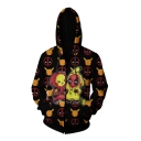New Fashion Popular Comic Figure 3D Printed Black Long Sleeve Zip Up Hoodie