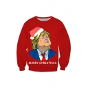 Marry Christmas Funny Trump 3D Printed Red Long Sleeve Round Neck Pullover Sweatshirt