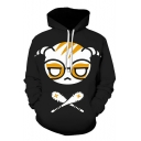 Funny Cartoon Comic Character Printed Long Sleeve Sport Loose Black Hoodie