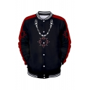 Men's Hot Popular Chain Pattern Stand Collar Long Sleeve Black Baseball Jacket