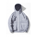 Men's Hot Fashion Long Sleeve Letter Print Pockets Zip Up Hooded Casual Jacket