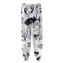 Hot Popular Ahegao Anime Girl Face Pattern Elastic Waist Unisex Casual Loose Joggers Sweatpants