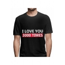 Summer Funny Letter I Love You 3000 TIMES Basic Short Sleeve Round Neck Relaxed T-Shirt