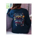 Halloween Cartoon Pumpkin Letter Printed Long Sleeve Round Neck Blue Pullover Sweatshirt