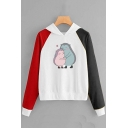 Cute Hedgehog Animal Pattern Long Sleeve Color Block Pullover Hoodie