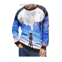 Creative Hot Fashion Paint Galaxy 3D Printed Round Neck Long Sleeve Blue Pullover Sweatshirts