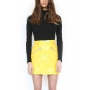 Female Solid Color Zip-Embellished Yellow Mini Fitted Patent Leather PU Skirt
