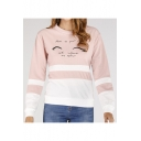 Hot Fashion Stripe Letter Print Round Neck Long Sleeve Pullover Sweatshirt