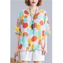 Summer Trendy Colorful Polka Dot Print V-Neck Short Sleeve Casual Loose T-Shirt