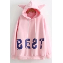 BEST Letter Long Sleeves Loose Lovely Ear Hoodie