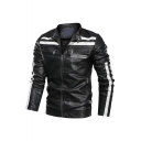 New Stylish Letter AMEETTINGCO Long Sleeve Stand-Collar Zip Up Moto Jacket For Men
