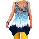 Women's Hot Fashion V Neck Sleeveless Tribal Print Asymmetric Hem Tank Top